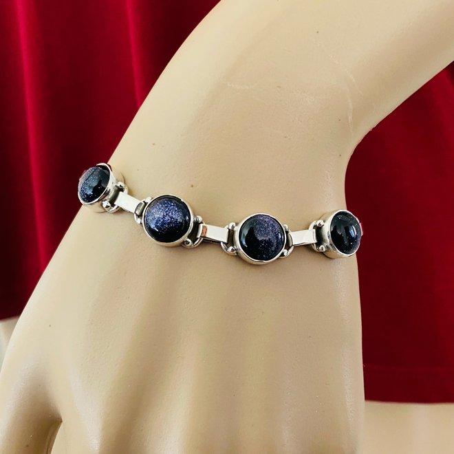 Zilveren blauwe zandsteen armband handgemaakt