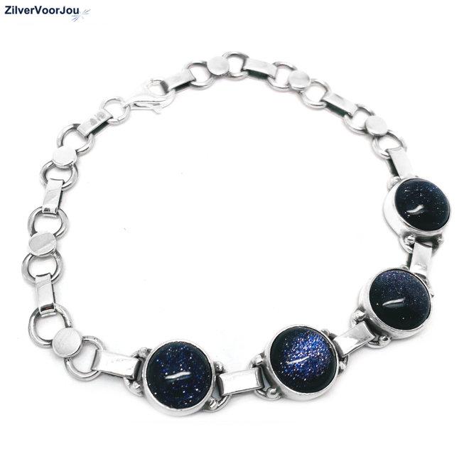 Zilveren blauwe zandsteen armband