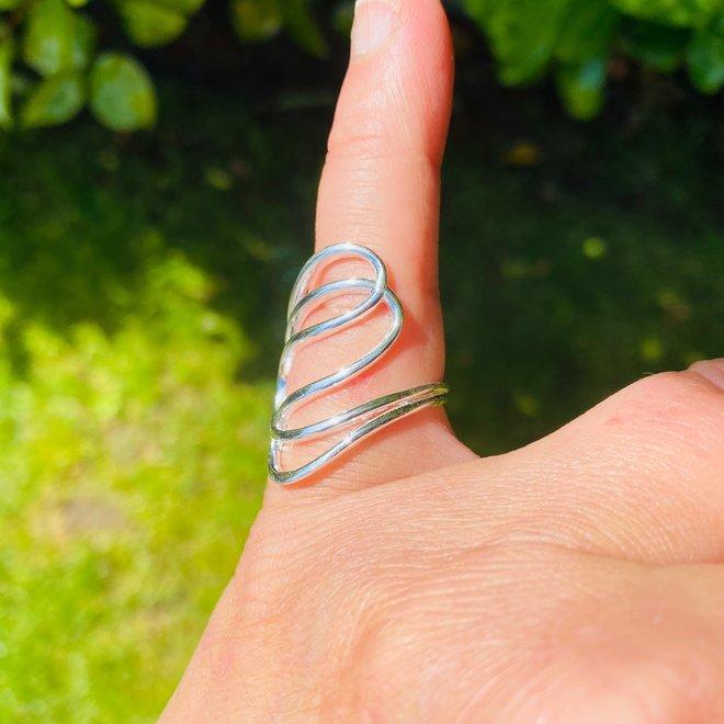 Zilveren design draad ring