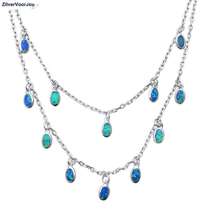 Zilveren blauwe opaal lagen collier