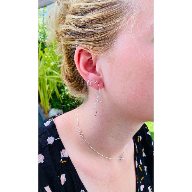 Zilveren drop wire oorhangers