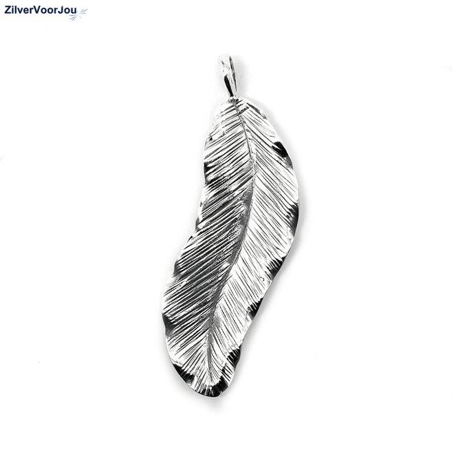 925 Zilveren grote bohemian veer kettinghanger