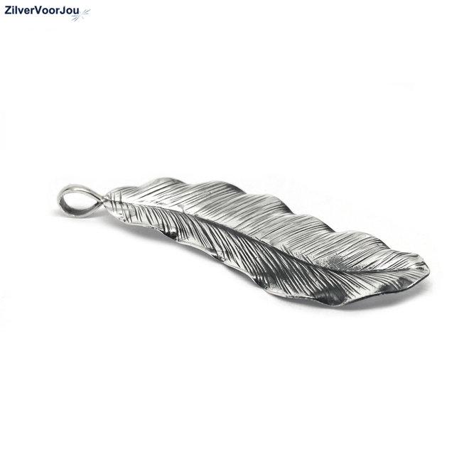 Zilveren grote bohemian veer kettinghanger