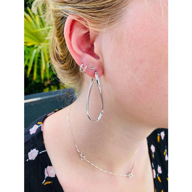 Zilveren grote ovale twist creolen oorringen