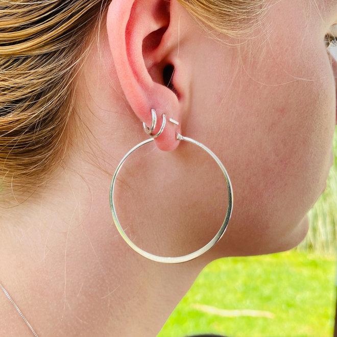Zilveren design oorringen 50 mm