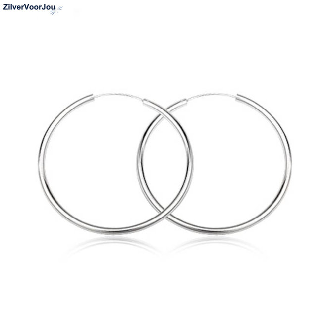 Zilveren creolen oorringen groot 45 mm 2.5 mm breed