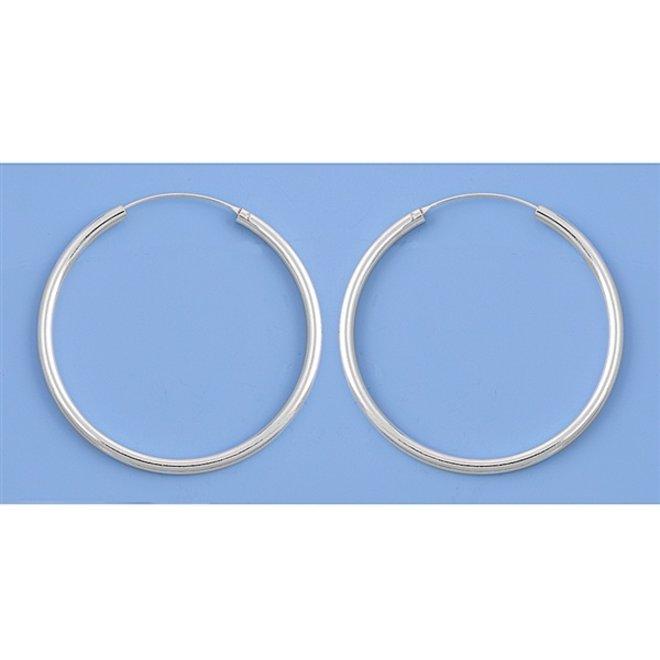Zilveren creolen oorringen groot 50 mm 3 mm breed
