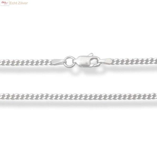 Zilveren gourmet ketting 65 cm lang 2 mm breed