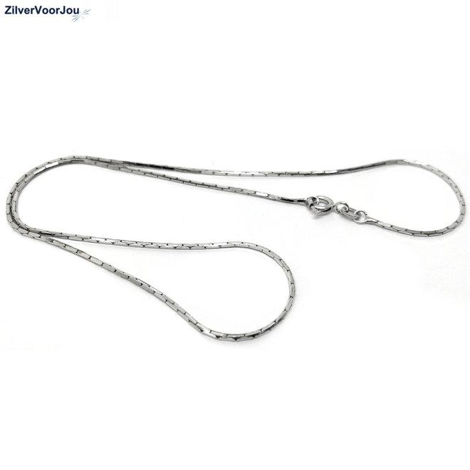 Zilveren cardano ketting 40 cm rhodium