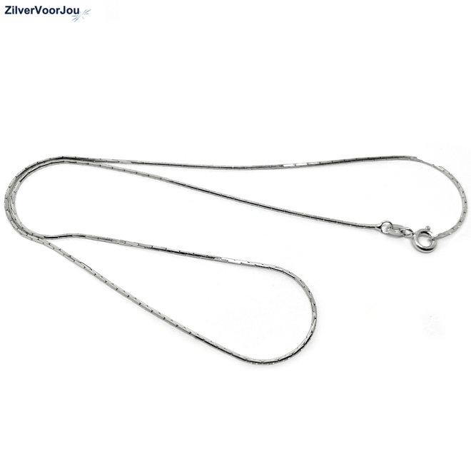 Zilveren cardano ketting 45 cm rhodium