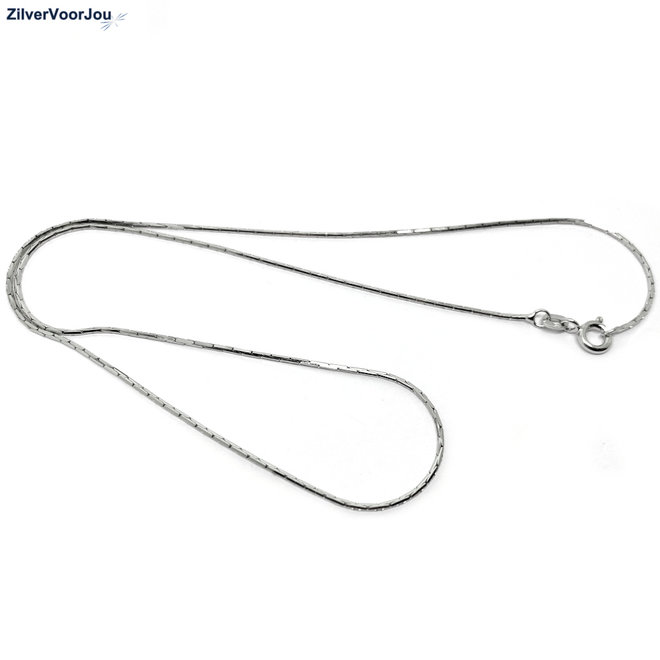 Zilveren cardano ketting 45 cm 1 mm rhodium