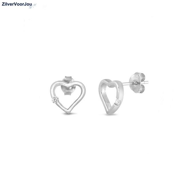 Zilveren open hart witte zirkoon oorstekers