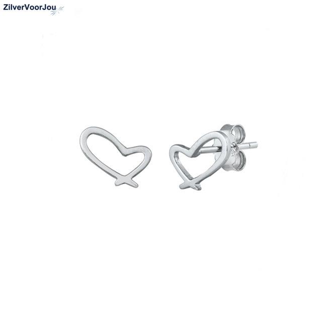 Zilveren oorbellen open design hartje