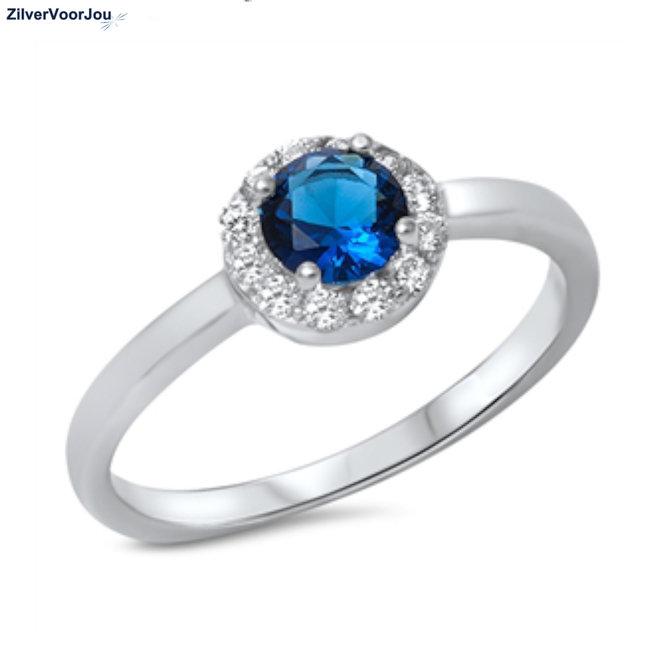 Zilveren diana ring met ronde blauwe saffier zirkoon