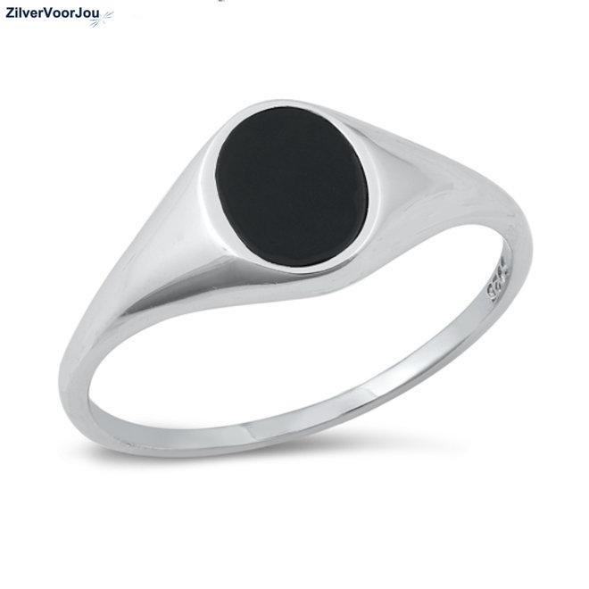 Zilveren dames zegelring zwarte ovale agaat