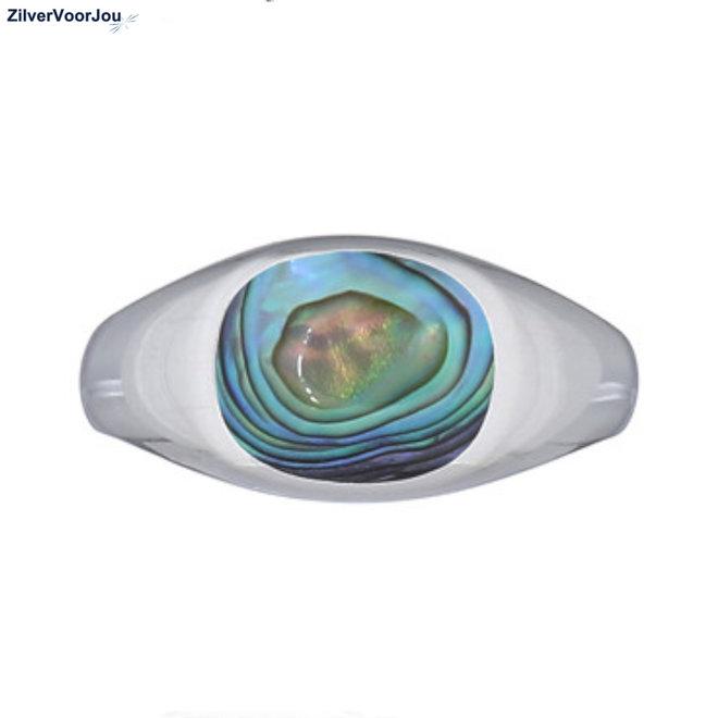 Zilveren unisex zegelring met abalone paua schelp