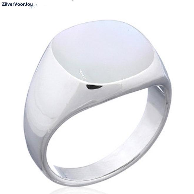 Zilveren zegelring uniseks wit parelmoer