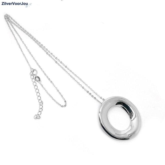 Zilveren design open ovaal ketting