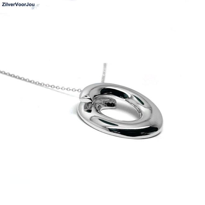 Zilveren design swirl open cirkel ketting