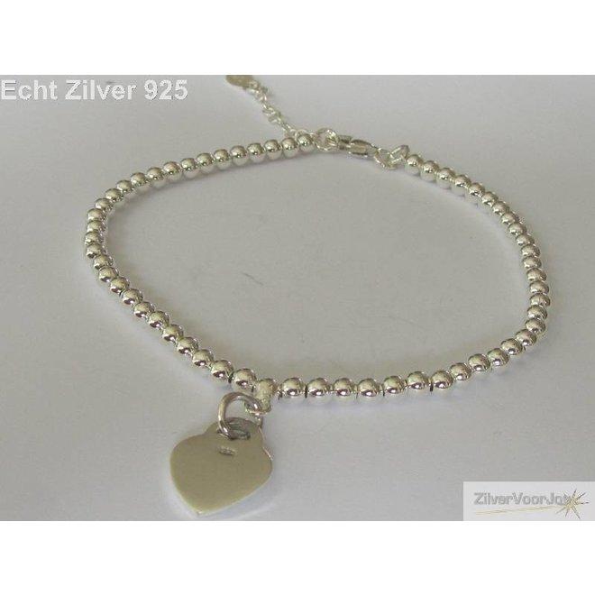 Zilveren verstelbare bolletjes armband met hart hanger