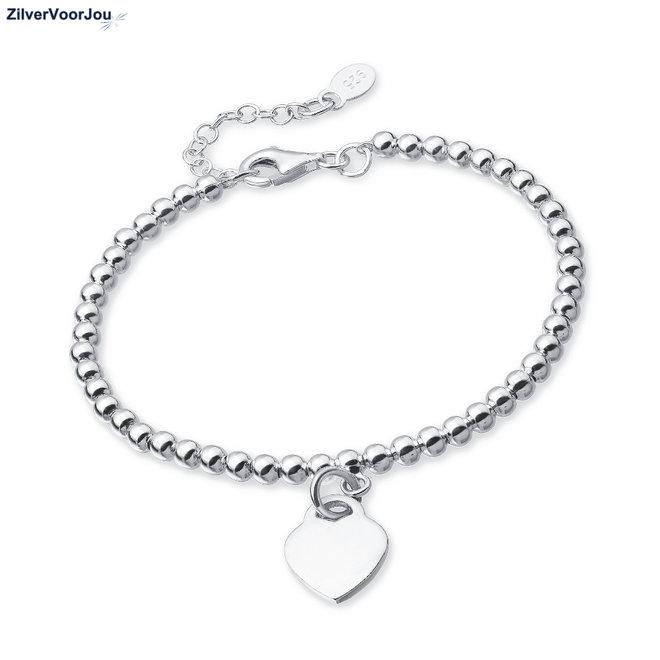 Zilveren bolletjes armband met hart hanger