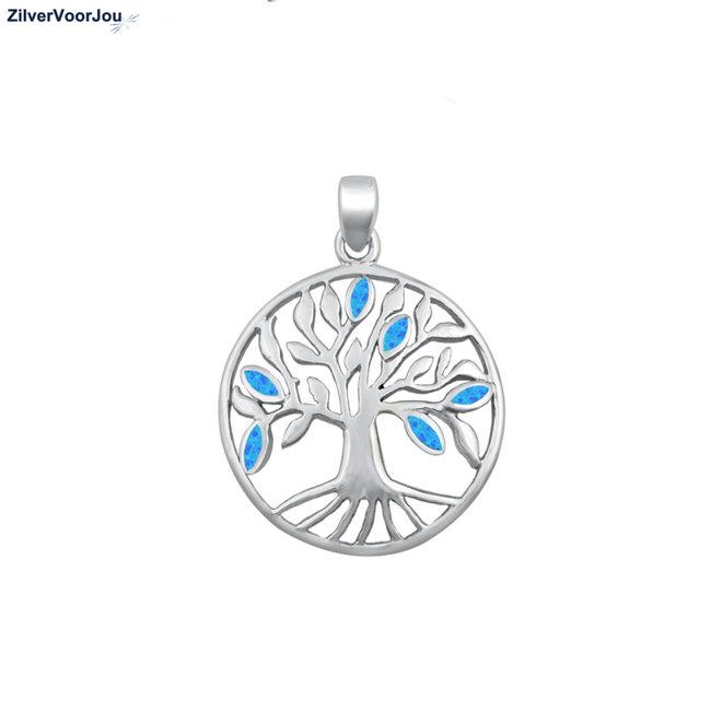 Zilveren blauwe opaal ronde levensboom hanger
