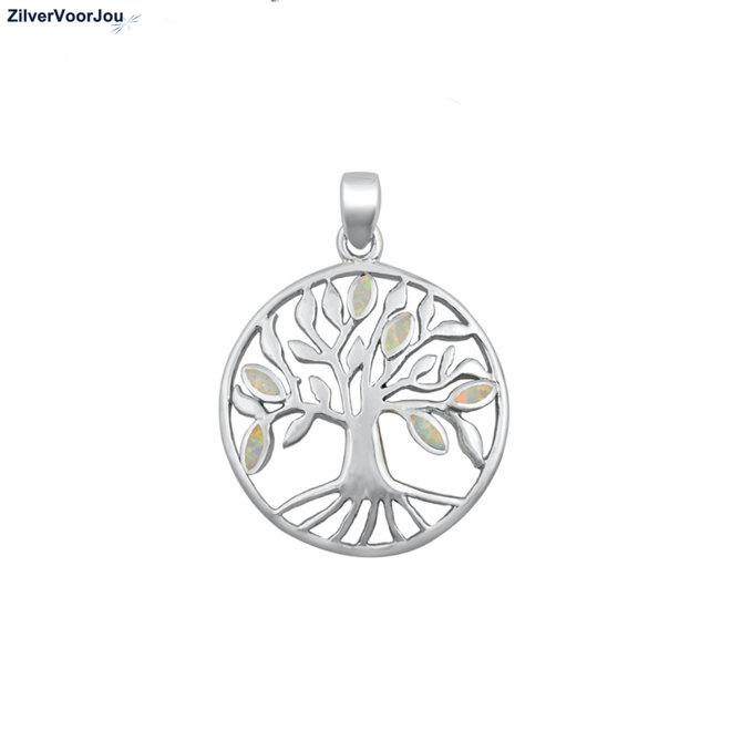 Zilveren witte opaal ronde levensboom hanger