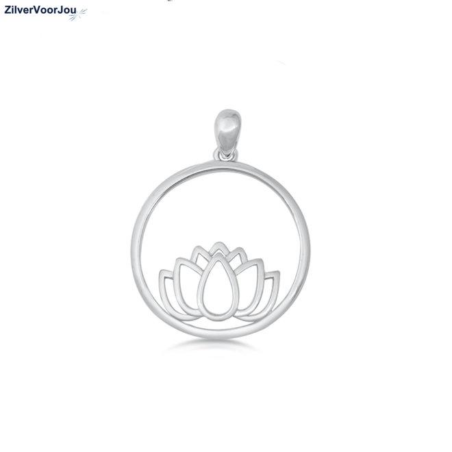 Zilveren ronde lotus kettinghanger
