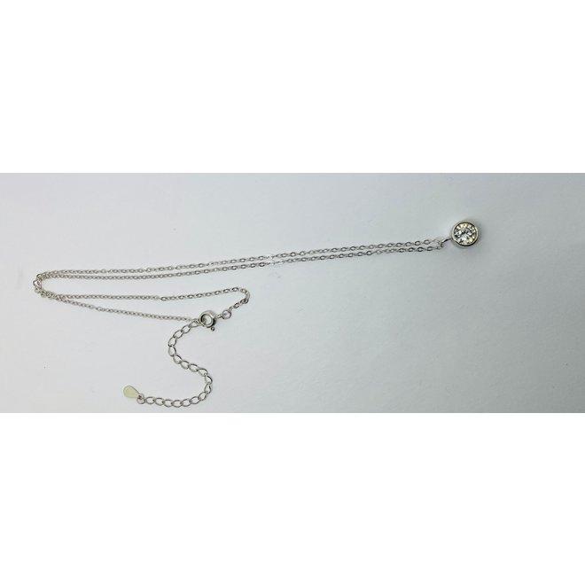 Zilveren solitair witte zirkoon ketting