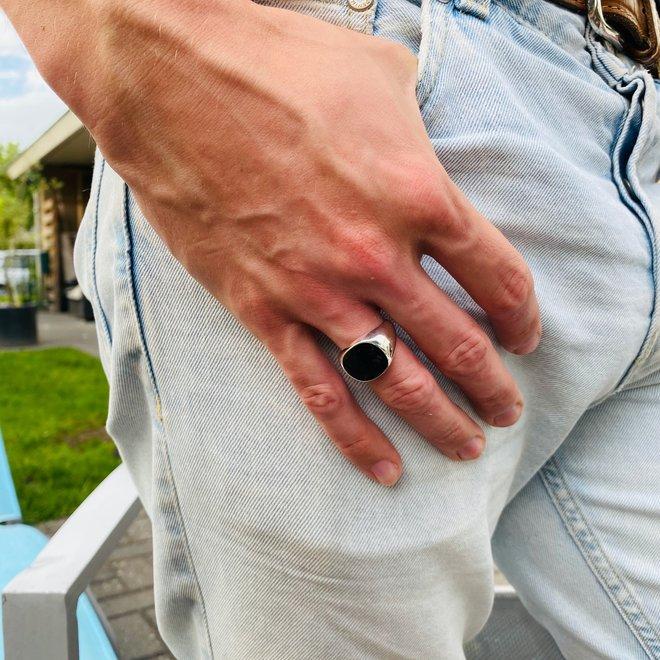 Zilveren zegelring uniseks zwarte agaat vierkant