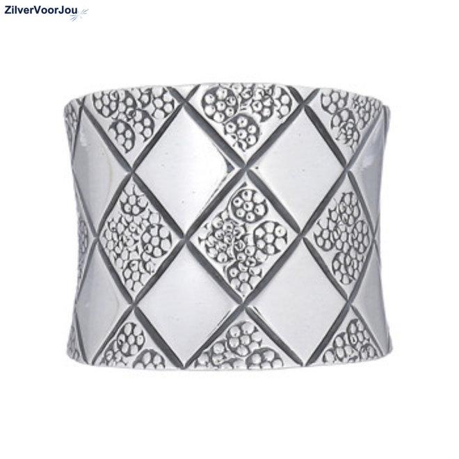 Zilveren schaakbord design ring