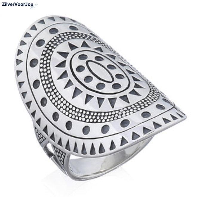 Zilveren grote mandala art ring