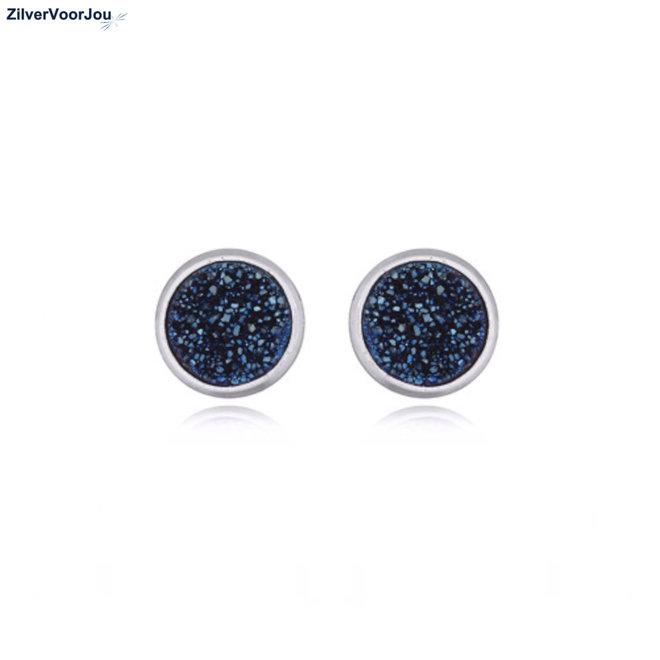 Zilveren druzy oorbellen blauw rond