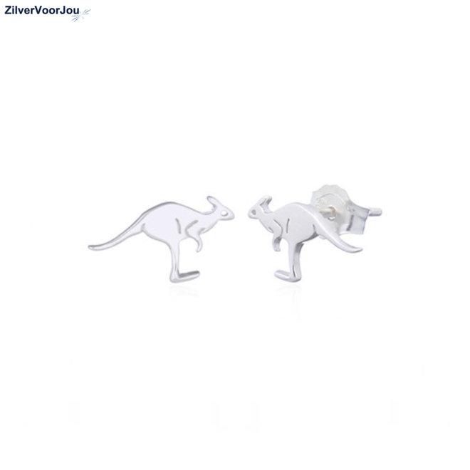 Zilveren kangaroo oorstekers