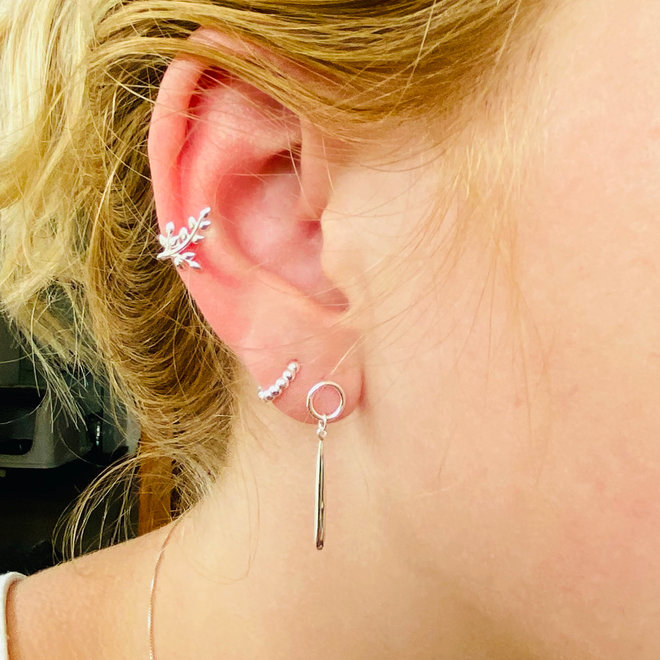Zilveren open cirkel lange druppel oorhangers