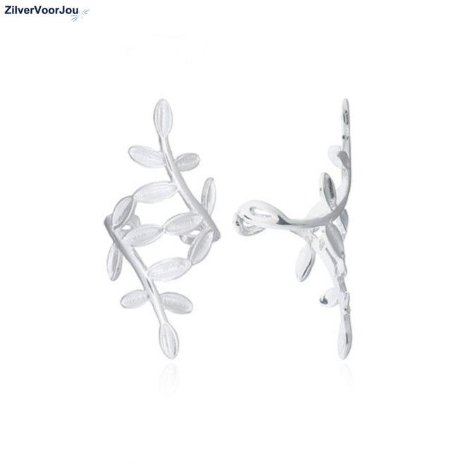 Zilveren floral leaf earcuffs