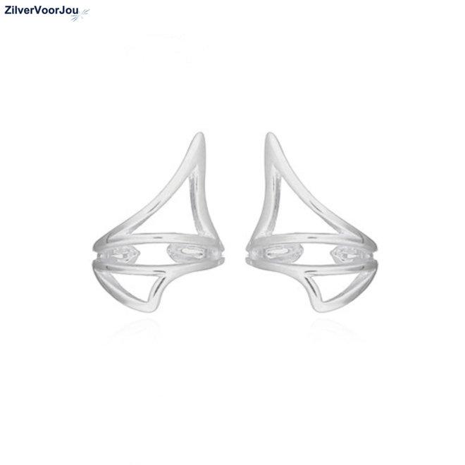 Zilveren moderne geometrie ear cuffs