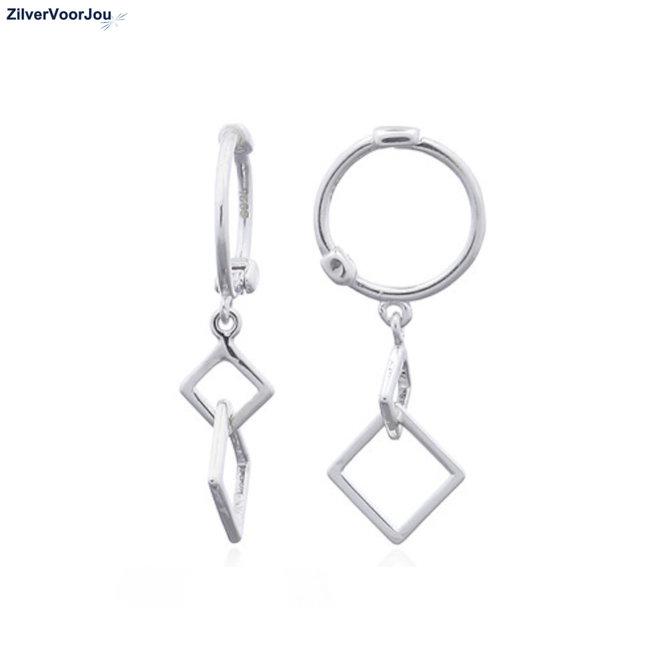 Zilveren squares huggie hoops