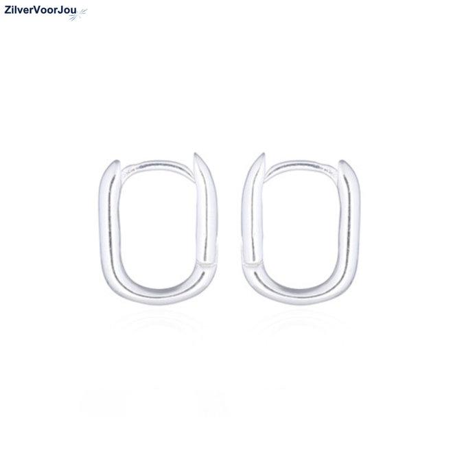 Zilveren huggie hoops rechthoek