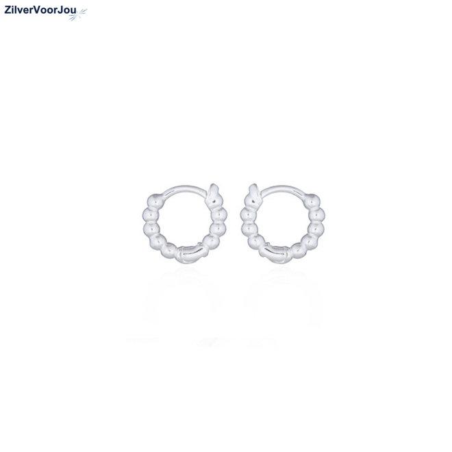 Zilveren huggie hoops dots mini