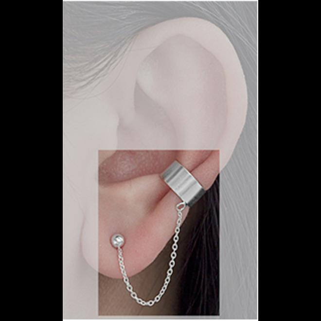 Zilveren earcuff ketting met oorknopjes