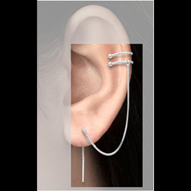 Zilveren earcuff doorhaaloorbellen