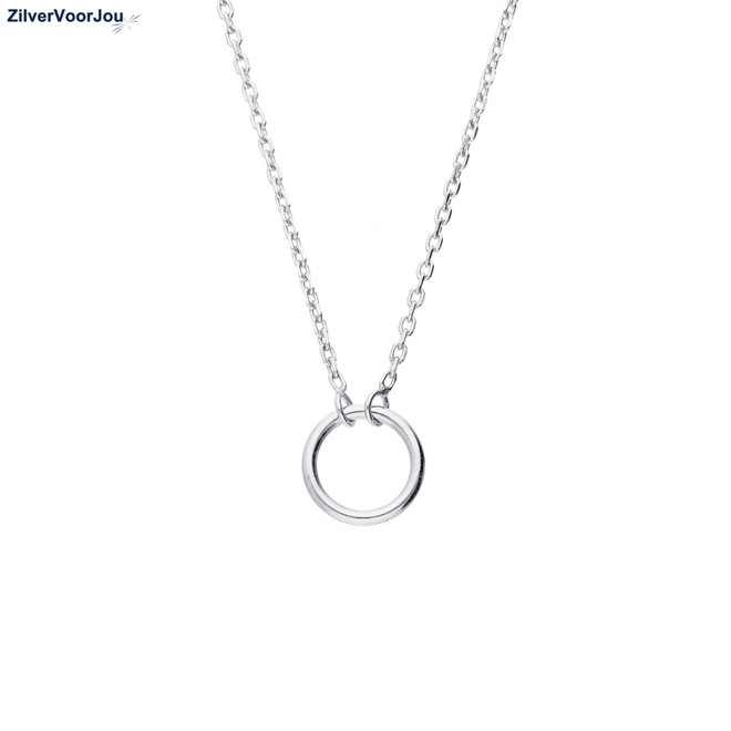 Zilveren open cirkel choker ketting