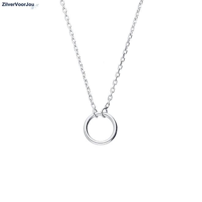 925 Zilveren open cirkel choker ketting