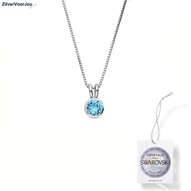 Zilveren Swarovski aqua blauw crystal ketting