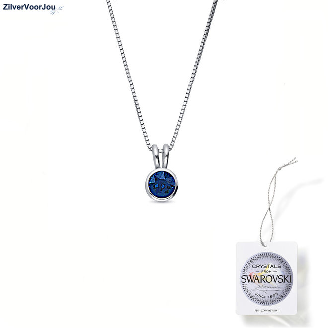 Zilveren Swarovski montana blauw kristal ketting