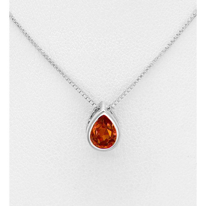 Zilveren Swarovski druppel rode Padparadscha Crystal collier