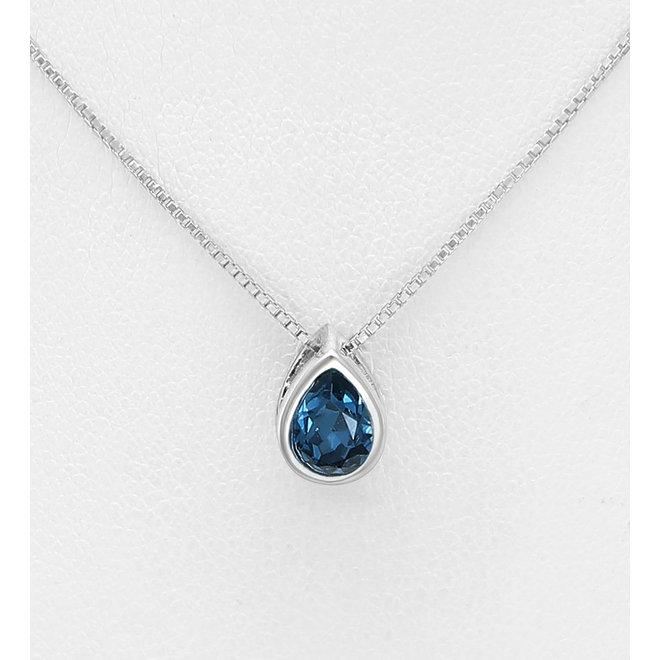 Zilveren Swarovski druppel montana blauw kristal ketting