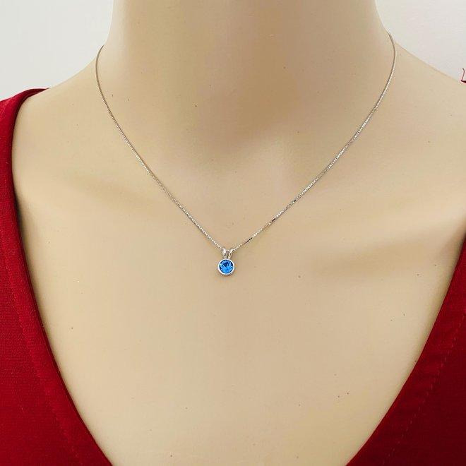 Zilveren Swarovski saffier blauw kristal ketting