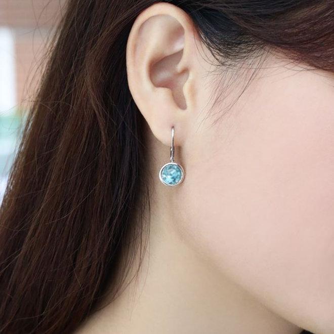Zilveren aqua blauwe ronde leverback Swarovski oorhangers